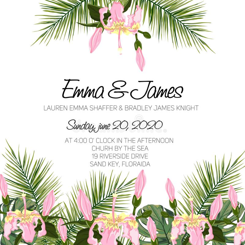 Wedding Invitation, floral invite card Design with green tropical forest palm tree leaves, forest fern greenery vector illustration