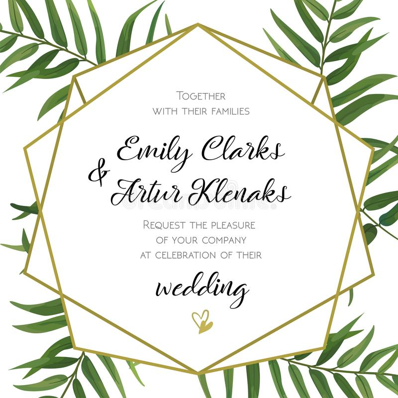 Wedding Invitation, floral invite card Design with green tropical forest palm tree leaves, forest fern greenery simple, geometric royalty free illustration