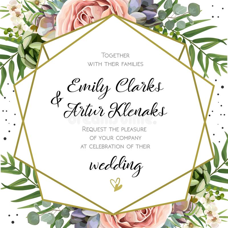 Free Wedding Invitation, Floral Invite Card Design: Peach Lavender Pi Royalty Free Stock Images - 107291779