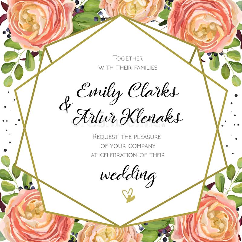 Wedding Invitation, floral invite card Design with pink peach rose Ranunculus elegant blue berry, romantic fern greenery bouquet. Geometric golden border print stock illustration