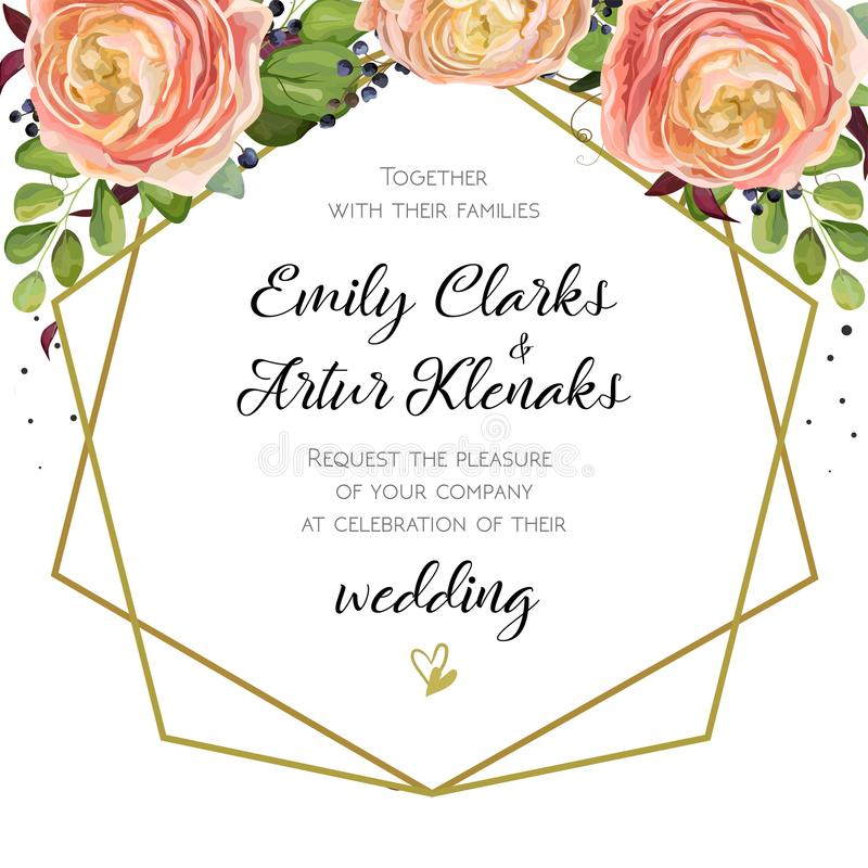 Wedding Invitation, floral invite card Design with pink peach rose Ranunculus elegant flowers, blue berry forest fern greenery bo. Uquet, geometric golden border vector illustration