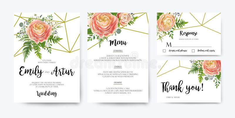 Wedding Invitation, floral invite card Design: pink peach rose R. Anunculus elegant wax flowers, blue berry Eucalyptus forest fern greenery bouquet geometric stock illustration