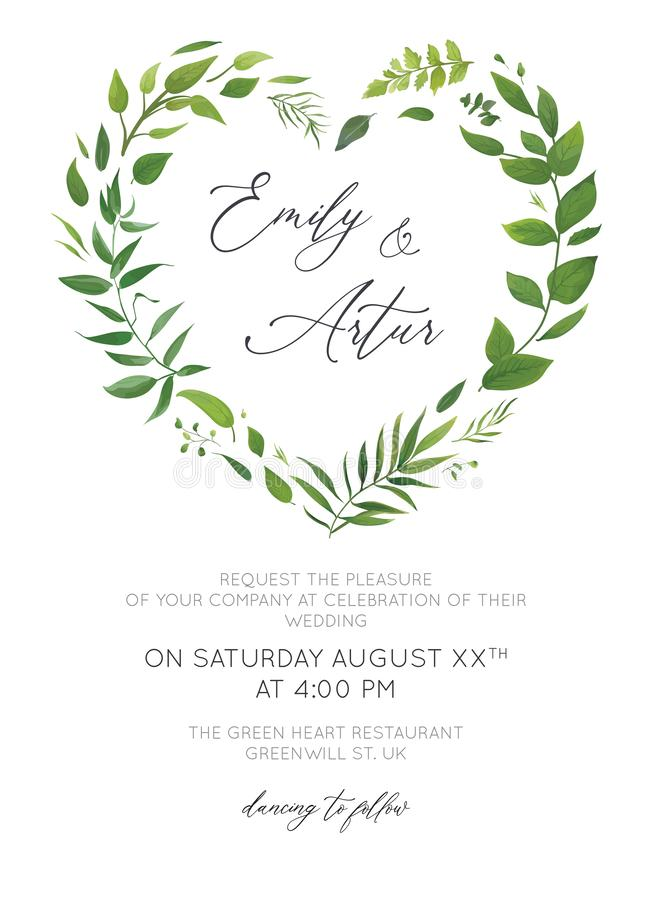 Wedding Invitation, floral invite card modern design. Green tropical palm leaf greenery, eucalyptus, forest leaves, branches royalty free stock photos