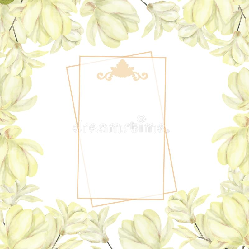 Wedding Invitation, floral invite card, olive floral and magnolia geometric golden frame print. White background.  royalty free illustration