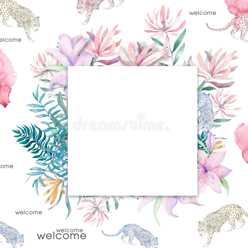 Wedding Invitation, floral invite card, pink flowers and green leafs geometric. Rhombus Rectangle frame. White square background. stock photos