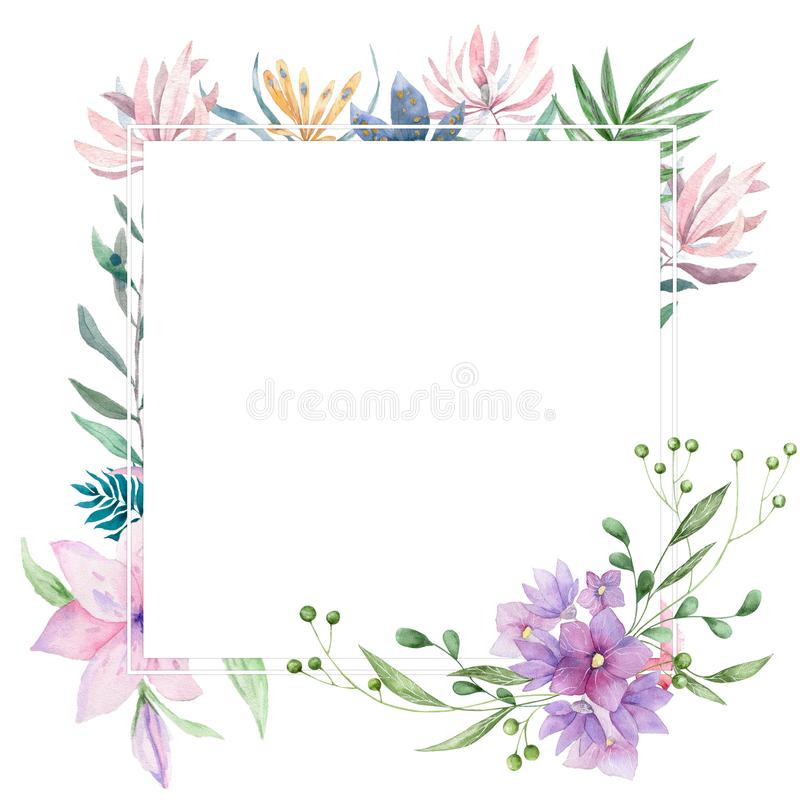 Wedding Invitation, floral invite card, pink flowers and green leafs geometric. Rhombus Rectangle frame. White square background. Leopard watercolor animals stock photos