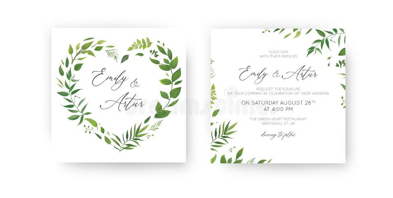 Wedding Invitation, floral invite, save the date card set. Watercolor green tropical leaf, lush greenery, eucalyptus, forest royalty free illustration