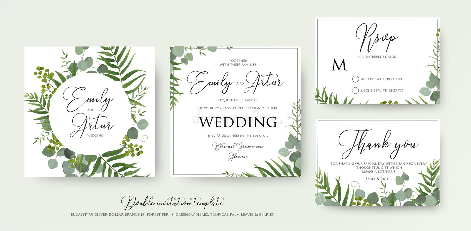 Wedding Invitation, floral invite, thank you, rsvp modern card D vector illustration