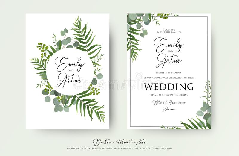 Wedding Invitation, floral invite thank you, rsvp modern card De royalty free stock images
