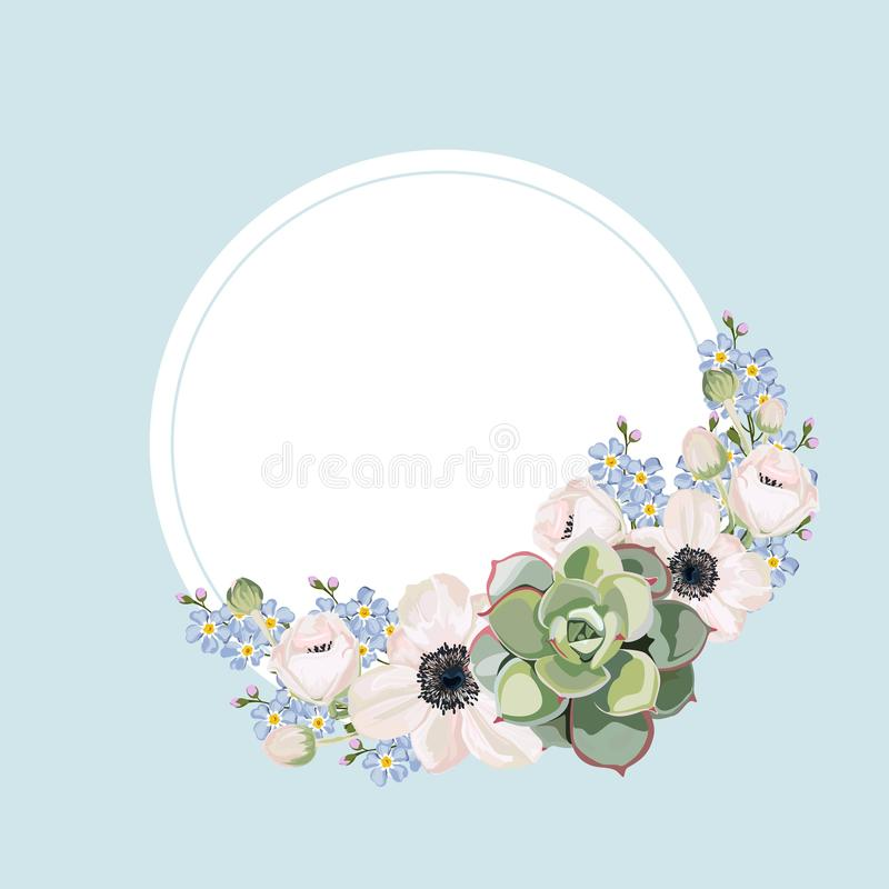 Wedding Invitation, floral invite thank you, rsvp modern card Design: anemones, forget-me-not flowers and succulent compositions. royalty free illustration