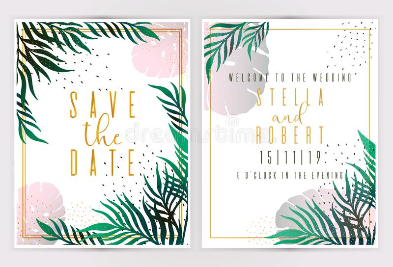 Wedding Invitation, floral invite thank you, rsvp modern card Design: green tropical palm leaf greenery branches decorative wreath. Frame. Vector elegant rustic vector illustration