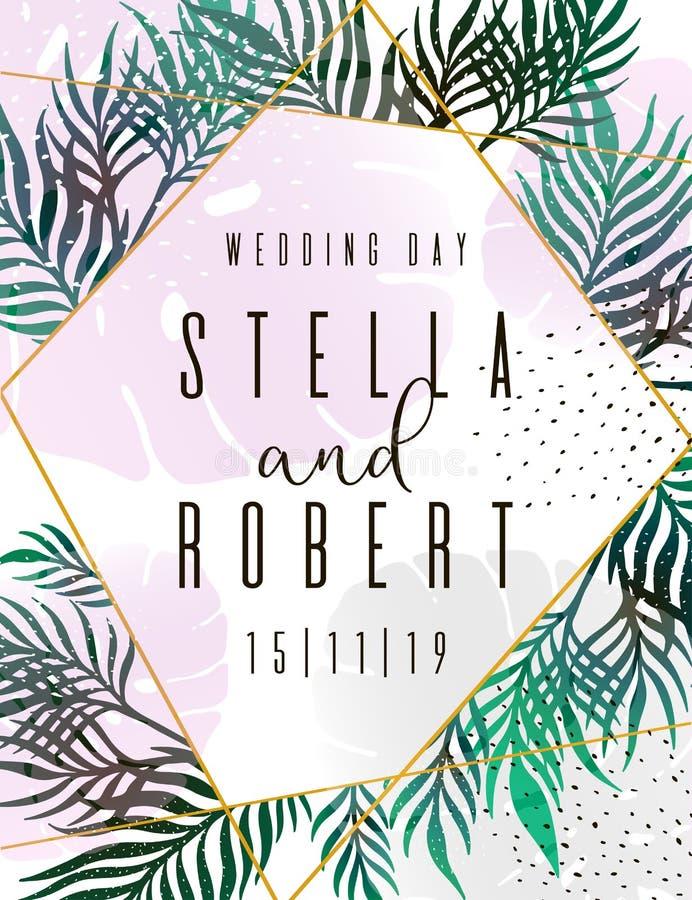 Wedding Invitation, floral invite thank you, rsvp modern card Design: green tropical palm leaf greenery branches decorative wreath. Frame. Vector elegant rustic stock illustration