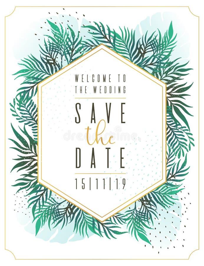 Wedding Invitation, floral invite thank you, rsvp modern card Design: green tropical palm leaf greenery eucalyptus branches decora. Wedding Invitation, floral stock illustration