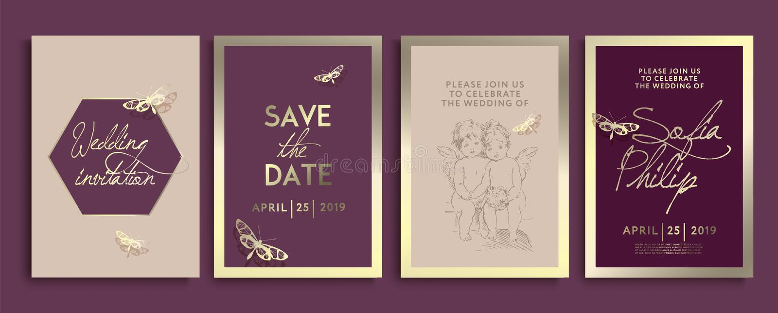 Wedding invitation with flowers, angels and butterflies on gold texture. luxury wedding card on gold backgrounds, artistic covers vector illustration