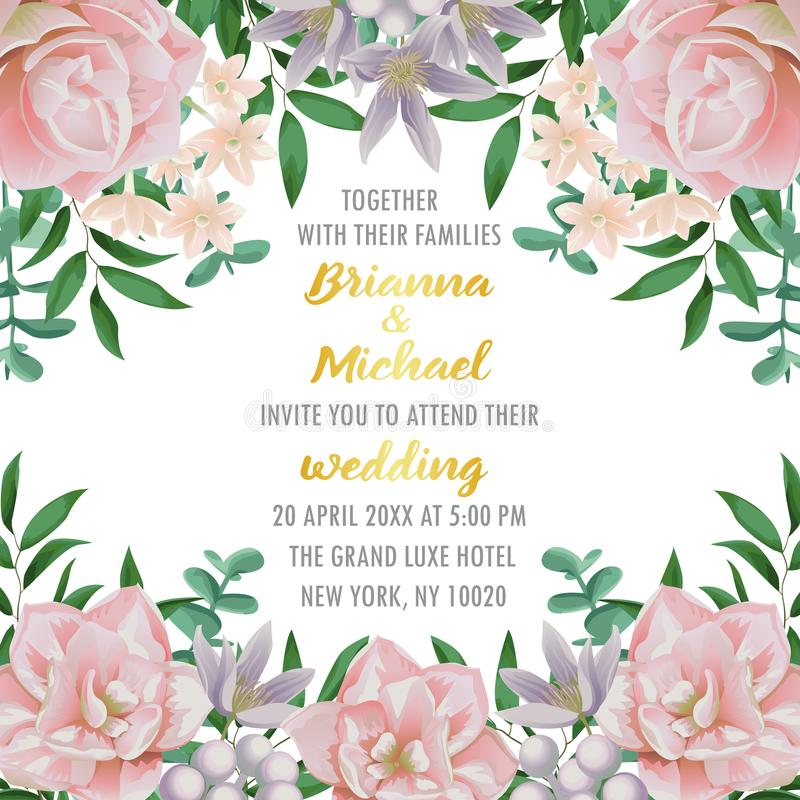 Wedding Invitation With Flowers And Greenery Stock Vector