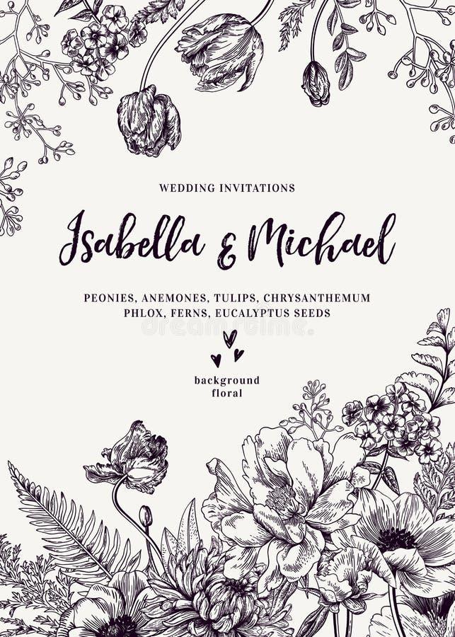 Wedding invitation with flowers. royalty free illustration