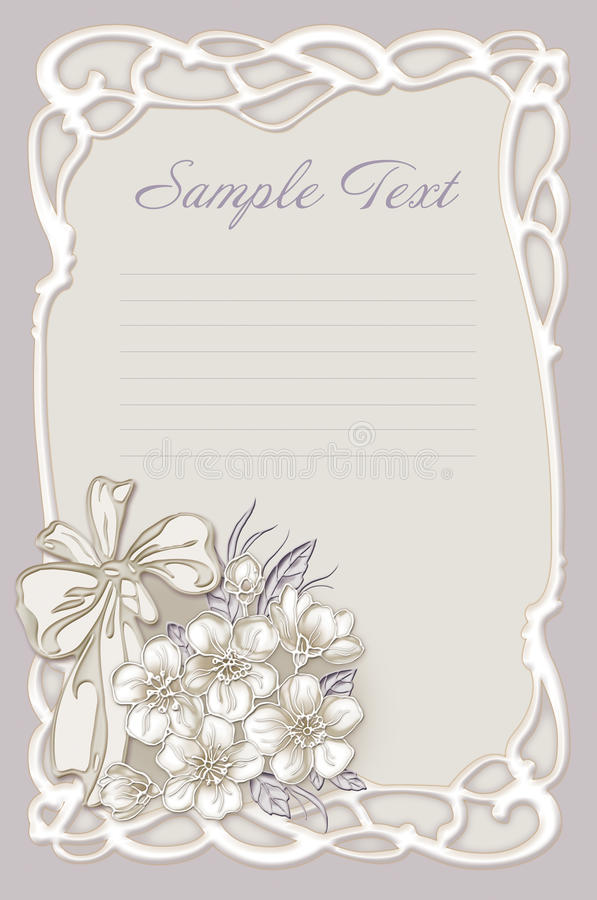 Wedding Invitation Frame With Flowers Stock Illustration