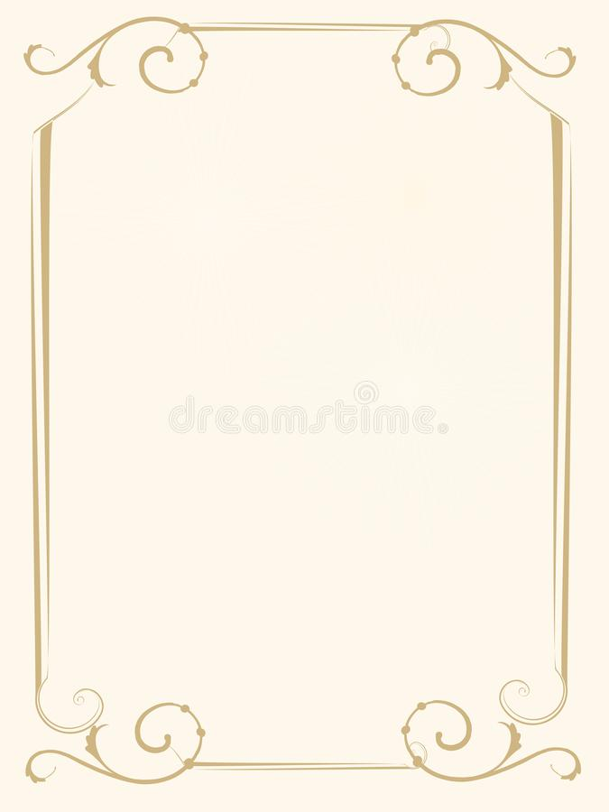 Wedding invitation or frame of honor Gold cover report stock image