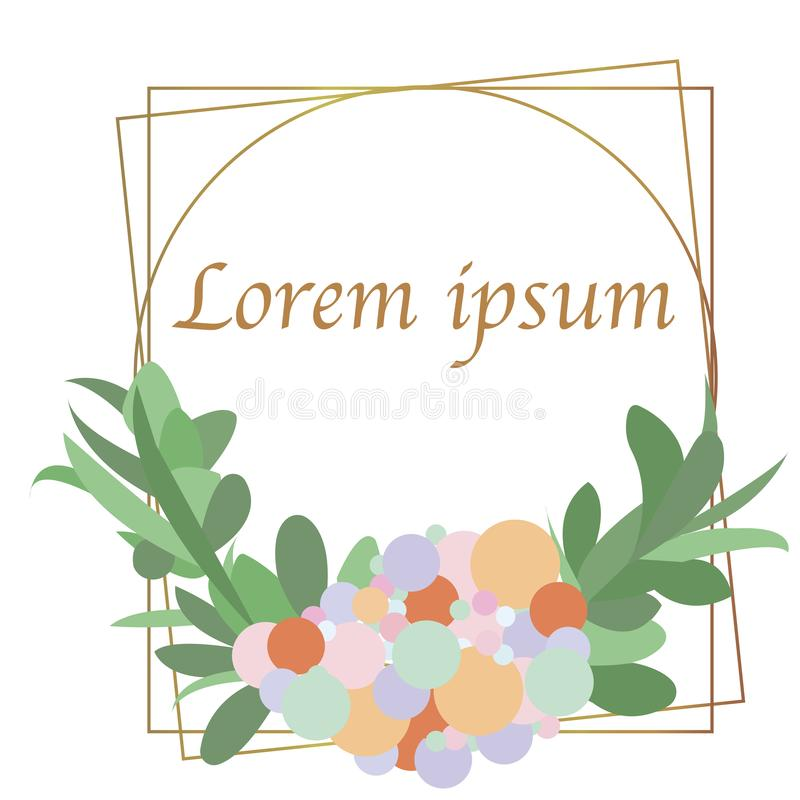 Wedding invitation frame set; flowers, leaves, isolated on white. Sketched wreath, floral and herbs garland with green, greenery c. Olor. Vector illustration royalty free illustration