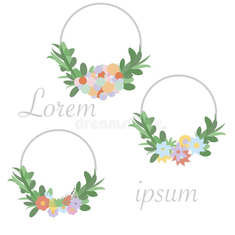Wedding invitation frame set; flowers, leaves, isolated on white. Sketched wreath, floral and herbs garland with green, greenery c. Olor. Vector illustration vector illustration