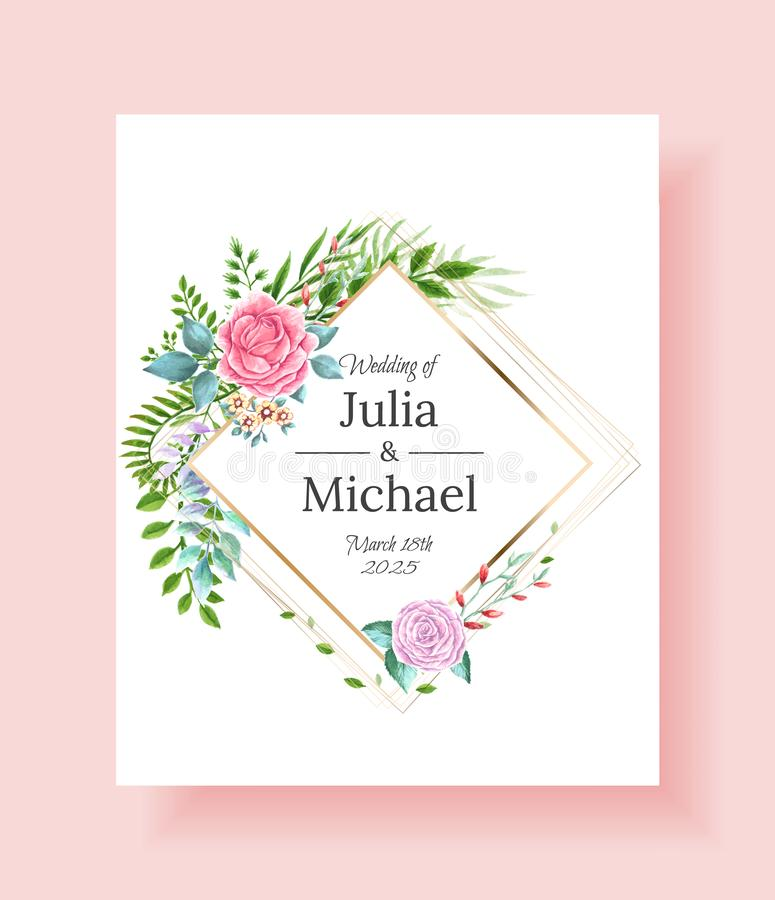 Wedding invitation frame set flowers, leaves, watercolor, isolated on white. Sketched wreath, floral and herbs garland vector illustration