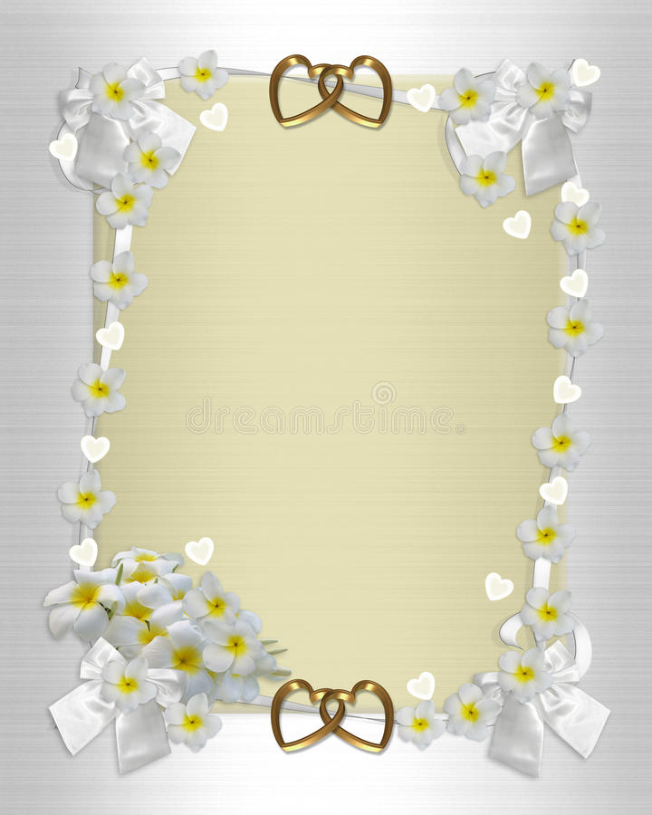 Wedding invitation frangipani stock photography
