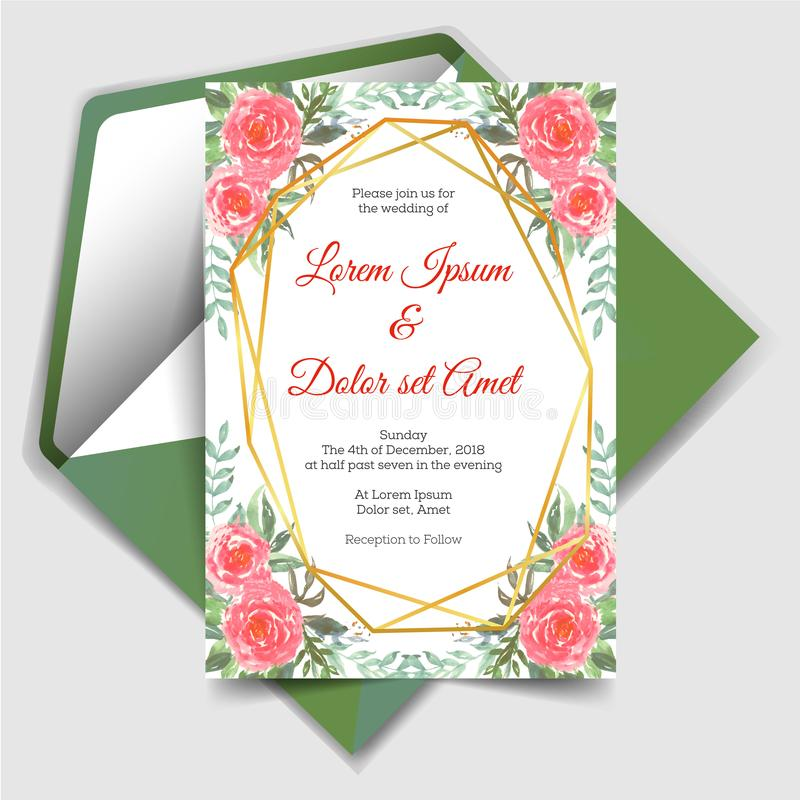Wedding invitation with geometric watercolor floral royalty free illustration