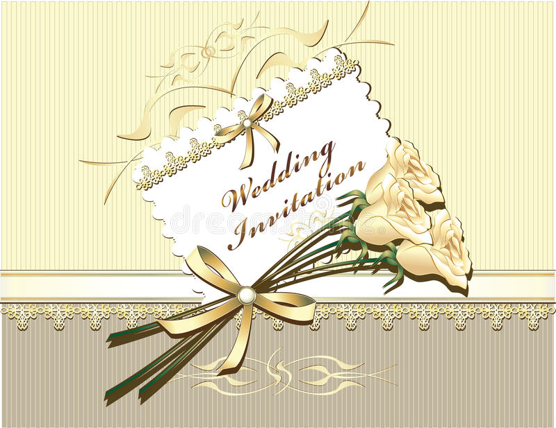 Wedding Invitation in gold colors. With roses vector illustration