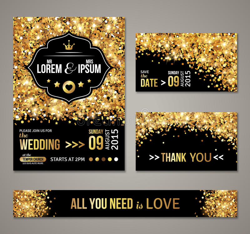 Wedding invitation gold confetti and black background stock vector set of wedding invitation cards design gold confetti and black background vector illustration save the date retro figured label stopboris Choice Image