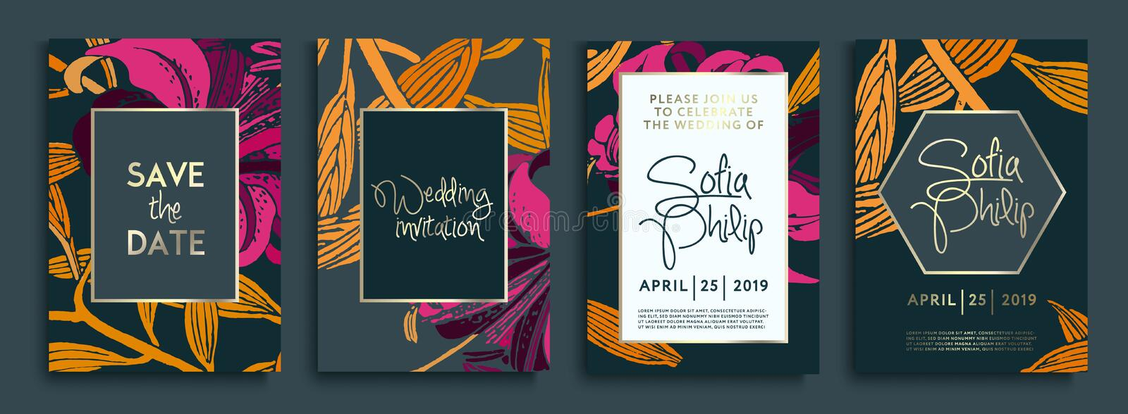 Wedding invitation with gold flowers and leaves on dark texture. luxury gold backgrounds, artistic covers design, colorful texture vector illustration