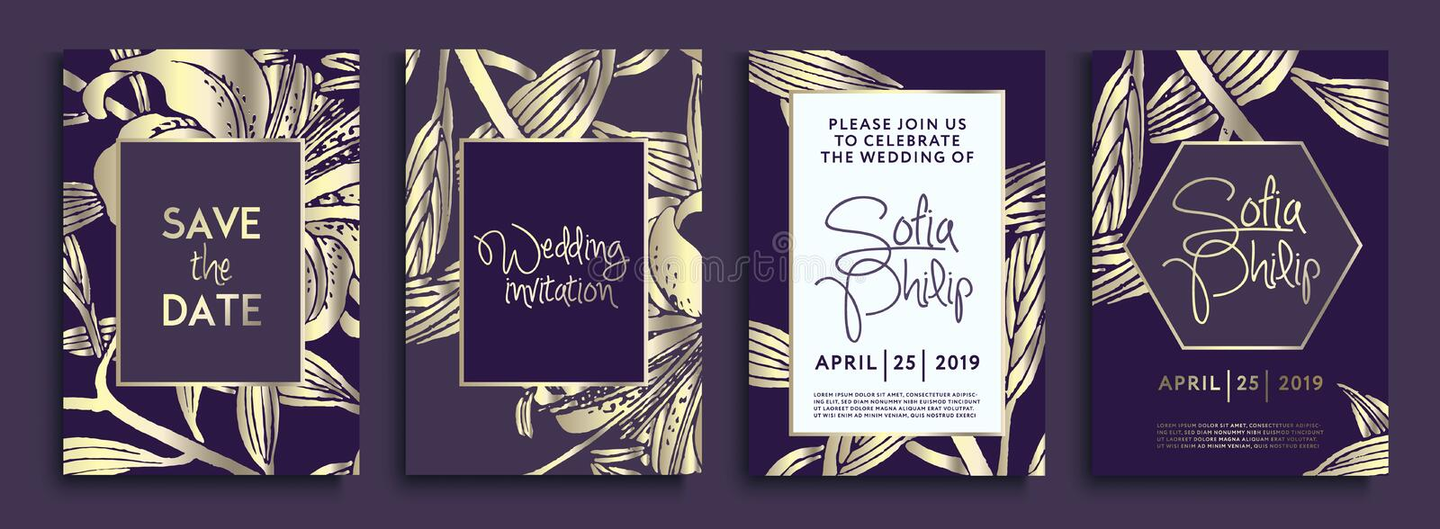 Wedding invitation with gold flowers and leaves on dark texture. luxury gold backgrounds, artistic covers design, colorful texture stock illustration