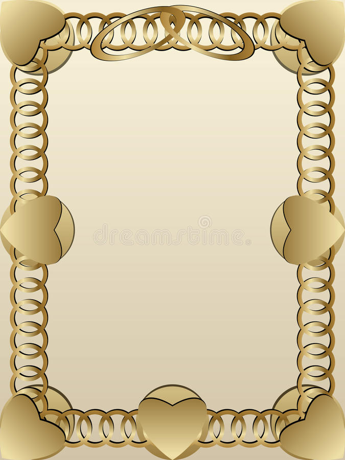 Wedding invitation gold rings royalty free illustration
