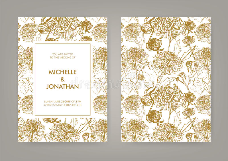 Wedding invitation with golden japanese chrysanthemum vertical card download wedding invitation with golden japanese chrysanthemum vertical card monochrome vector illustration stock vector stopboris Image collections