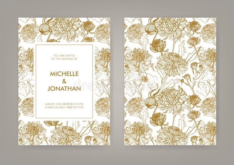 Wedding invitation with golden japanese chrysanthemum vertical card download wedding invitation with golden japanese chrysanthemum vertical card monochrome vector illustration stock vector stopboris Images