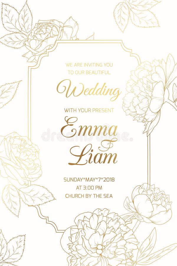 Wedding invitation golder rose peony flowers frame stock illustration