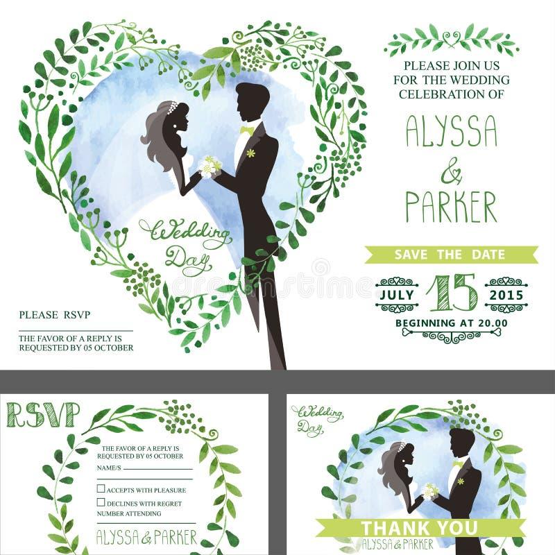 Free Wedding Invitation.Green Branches Heart ,bride,groom,sky Stock Photography - 76026892