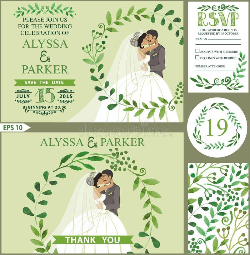 Wedding invitation. Green branches wreath, kissing bride, groom. Wedding invitation set. Watercolor green branches with kissing couple bride, groom. Round wreath royalty free illustration