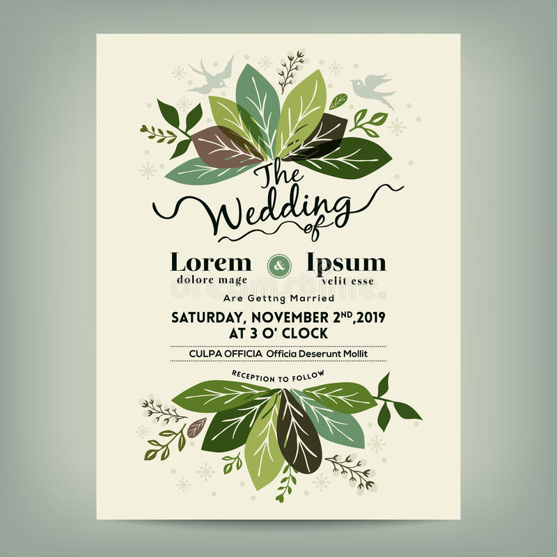 Wedding invitation with green floral leaves branch stock vector download wedding invitation with green floral leaves branch stock vector illustration of romantic space stopboris Images