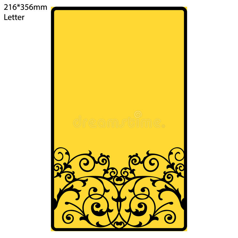 Wedding invitation or greeting card with abstract ornament. Vector envelope template for laser cutting. vector illustration
