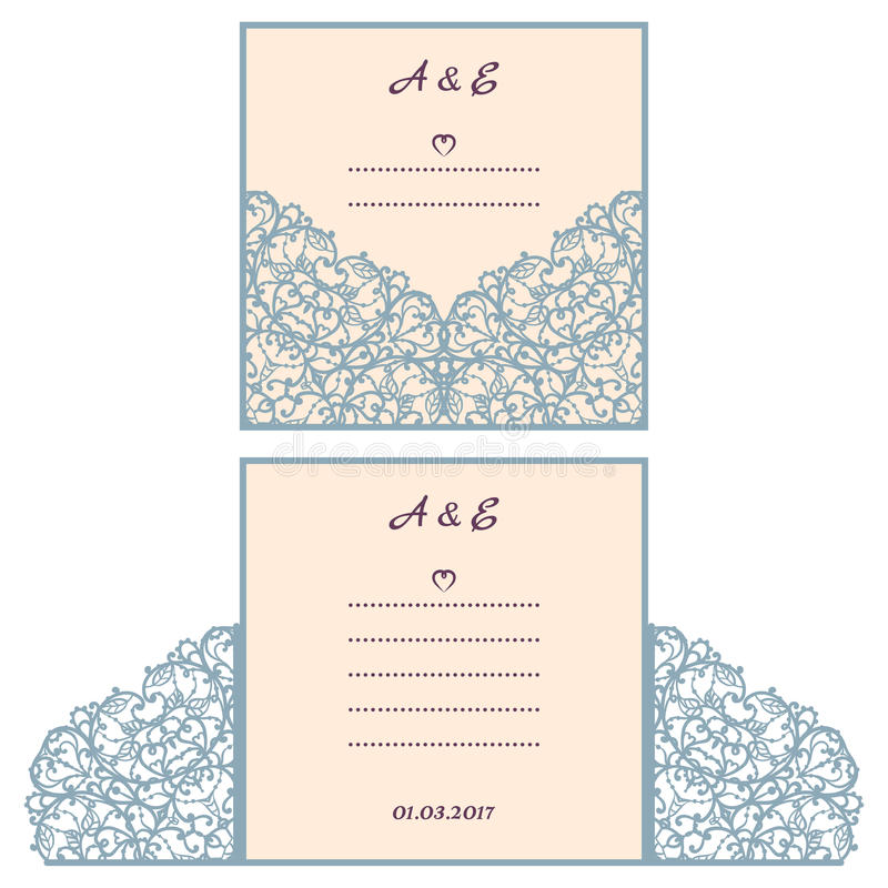 Wedding invitation or greeting card with abstract ornament vector download wedding invitation or greeting card with abstract ornament vector envelope template for laser cutting m4hsunfo