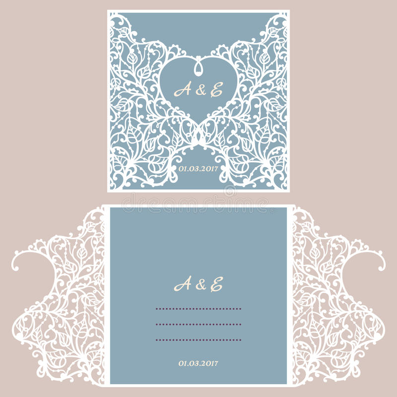 Wedding invitation or greeting card with abstract ornament. Vector envelope template for laser cutting. Paper cut card. With silhouette. Cutout silhouette panel royalty free illustration