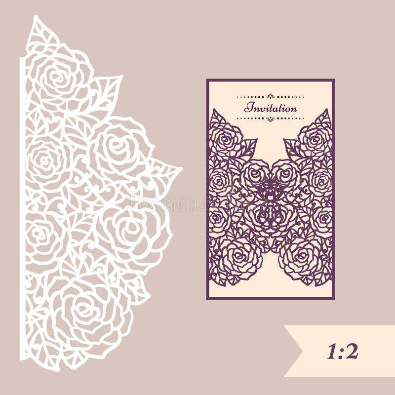 Wedding invitation or greeting card with abstract ornament. Vector envelope template for laser cutting. Paper cut card royalty free illustration
