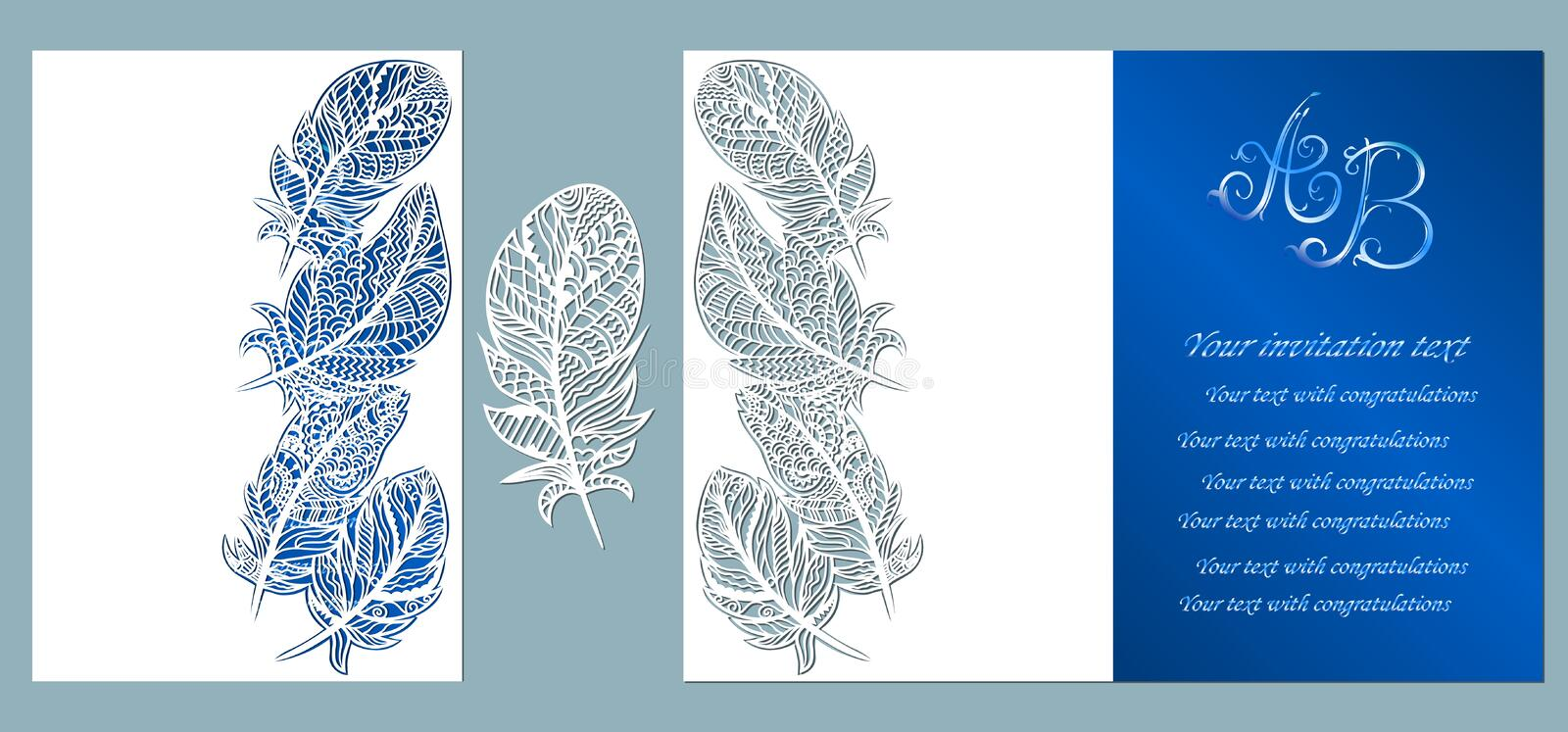 Wedding invitation. Greeting card with feathers. Envelope mock up for laser cutting. Template for laser, plotter cutting. blue vector illustration