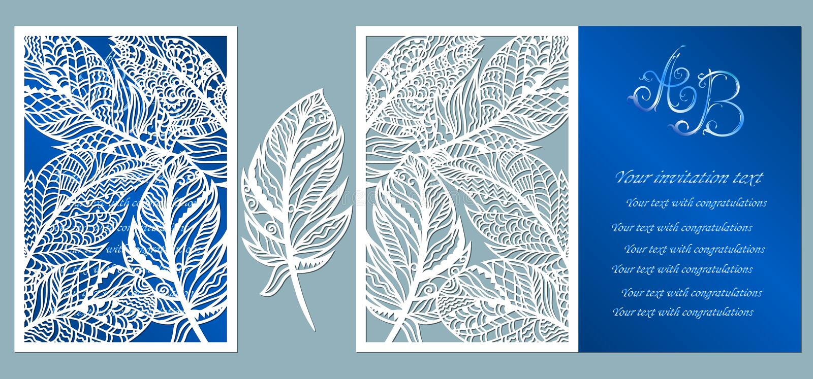 Wedding invitation. Greeting card with feathers. Envelope mock up for laser cutting. Template for laser, plotter cutting. blue royalty free illustration