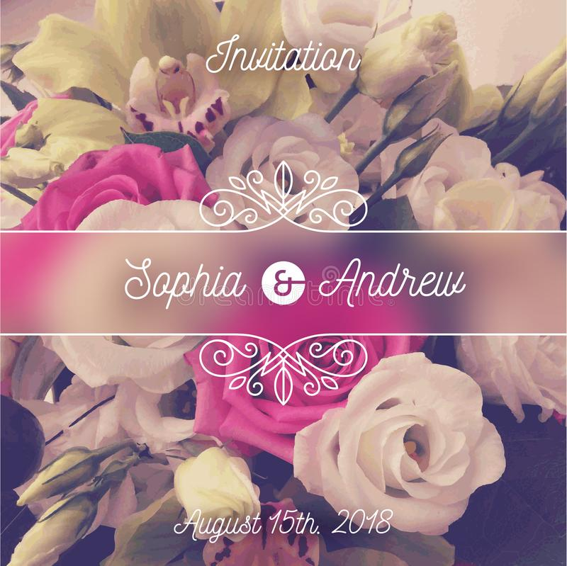 Wedding invitation. Greeting card with flowers background and flourishes elements. vector illustration