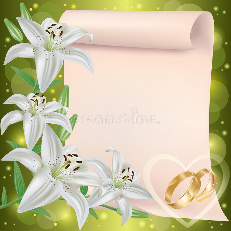 Wedding invitation or greeting card with lily vector illustration