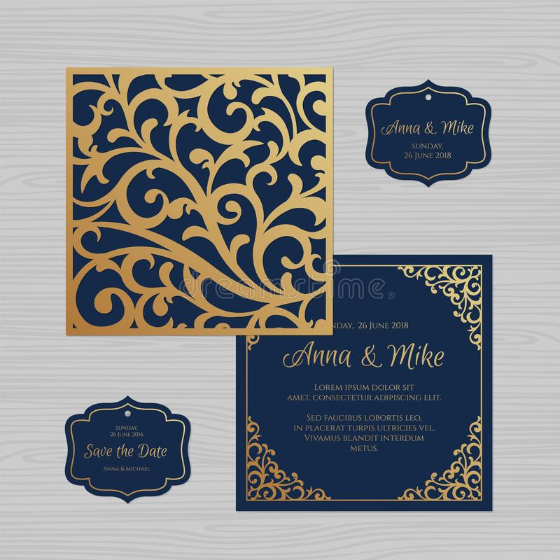 Wedding invitation or greeting card with vintage ornament. Paper. Lace envelope template. Wedding invitation envelope mock-up for laser cutting. Vector stock illustration