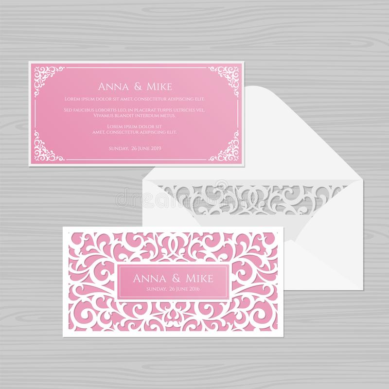 Wedding invitation or greeting card with vintage ornament. Paper. Lace envelope template. Wedding invitation envelope mock-up for laser cutting. Vector vector illustration