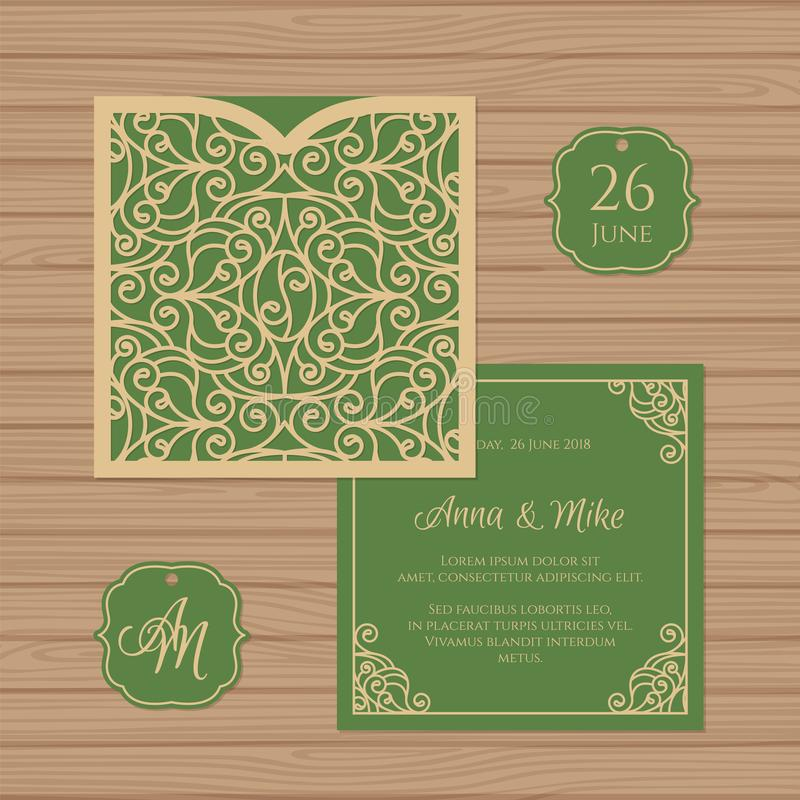 Wedding invitation or greeting card with vintage ornament. Paper. Lace square envelope template. Wedding invitation envelope mock-up for laser cutting. Vector stock illustration