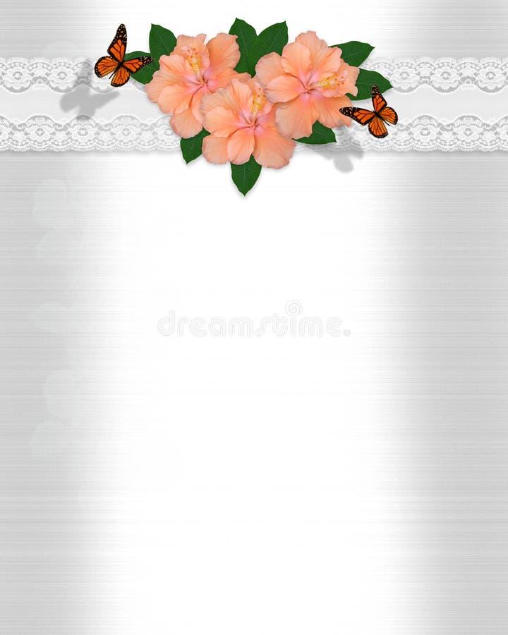 Wedding invitation Hibiscus satin stock photo